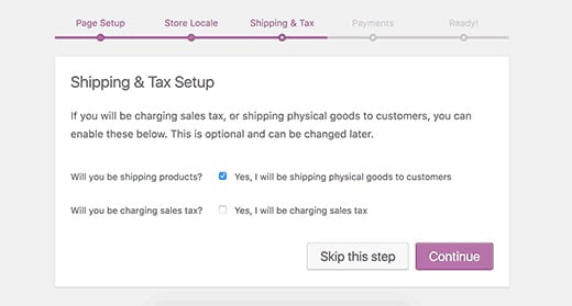 Tax information and shipping information